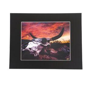 """Other - Desert Skull Sunset Matted Print """"Bones & Fire"""""""